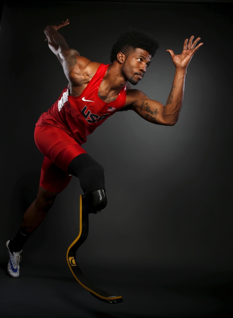 Image: Paralympic runner Richard Browne poses for a portrait at the U.S. Olympic Committee Media Summit in Beverly Hills