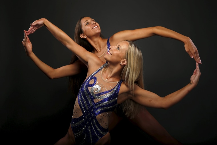 Image: Synchronized swimming duet Anita Alvarez and Mariya Koroleva pose for a portrait at the U.S. Olympic Committee Media Summit in Beverly Hills
