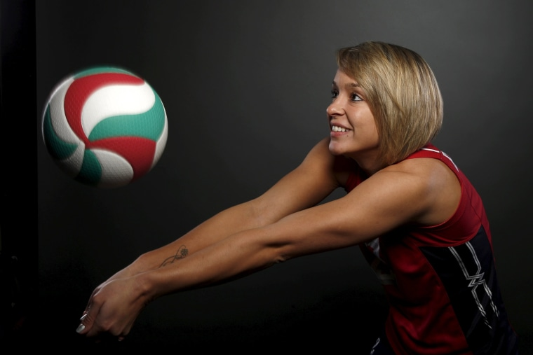 Image: Indoor volleyball player Kayla Banwarth poses for a portrait at the U.S. Olympic Committee Media Summit in Beverly Hills