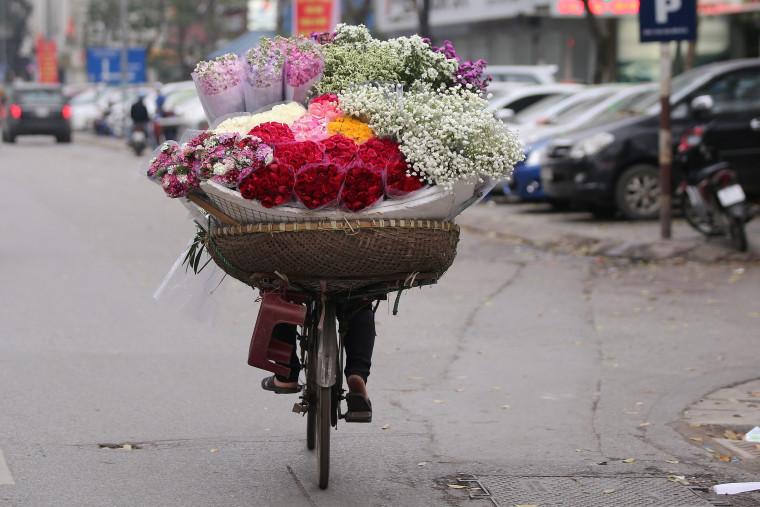 Image: A street vendor sells flowers in Hanoi