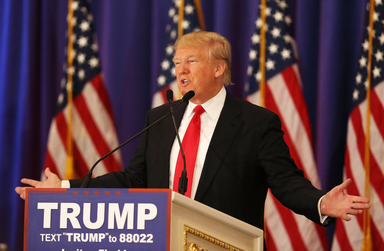 Image: Republican presidential candidate Donald Trump speaks during a press conference
