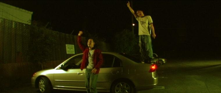 "Jake Moreno and H.P. Mendoza in ""Colma: The Musical."""