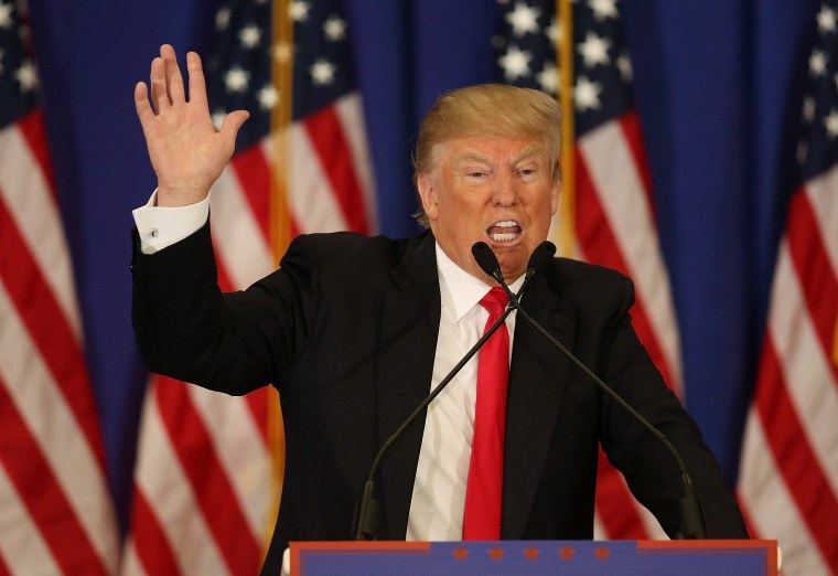 JUPITER, FL - MARCH 08: Republican presidential candidate Donald Trump speaks during a press conference at the Trump National Golf Club Jupiter on March 8, 2016 in Jupiter, Florida. Trump is projected to win the Republican Presidential primaries in Mississippi and Michigan.
