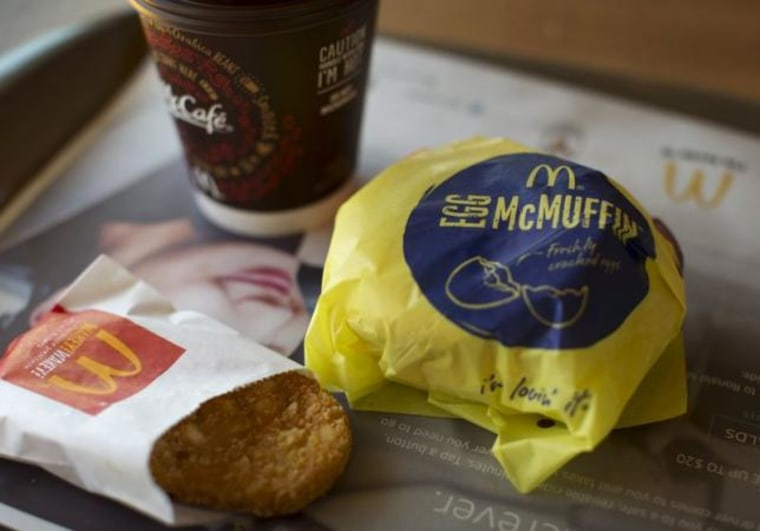 An Egg McMuffin meal is pictured at a McDonald's restaurant in Encinitas, California