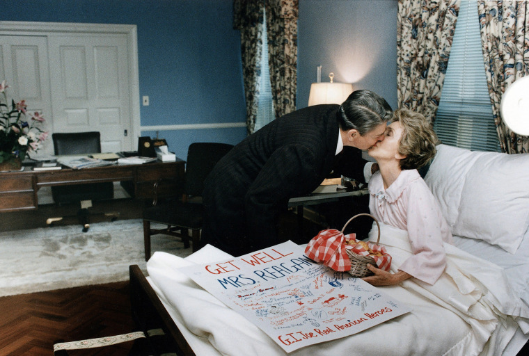Ronald Reagan greets Nancy at the Bethesda Naval Hospital after her surgery for breast cancer in October, 1987.