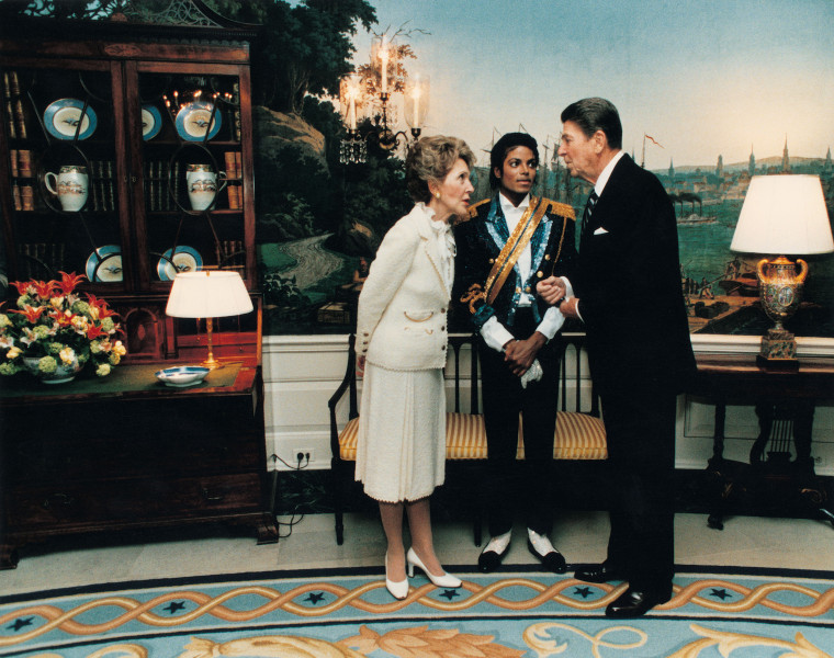Nancy and Ronald Reagan with Michael Jackson in 1984.