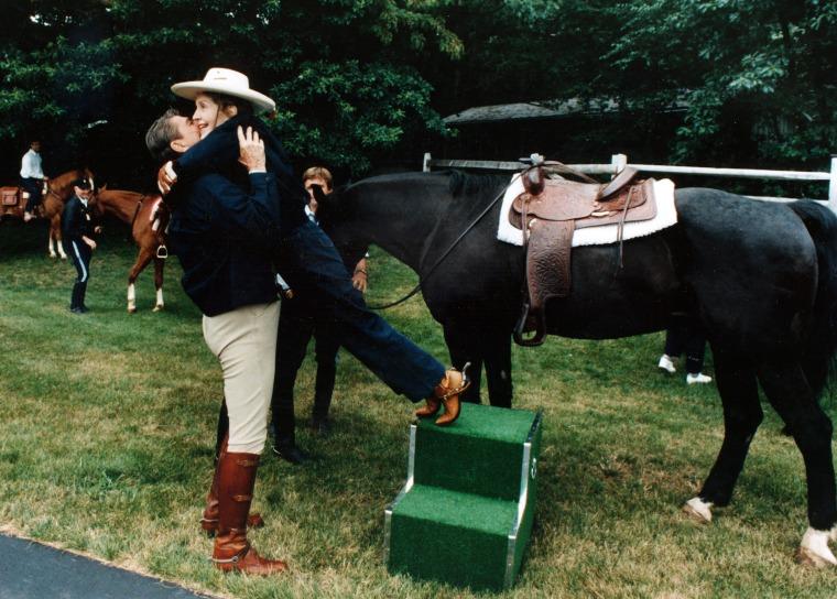 Ronald and Nancy Reagan at Camp David in 1985.