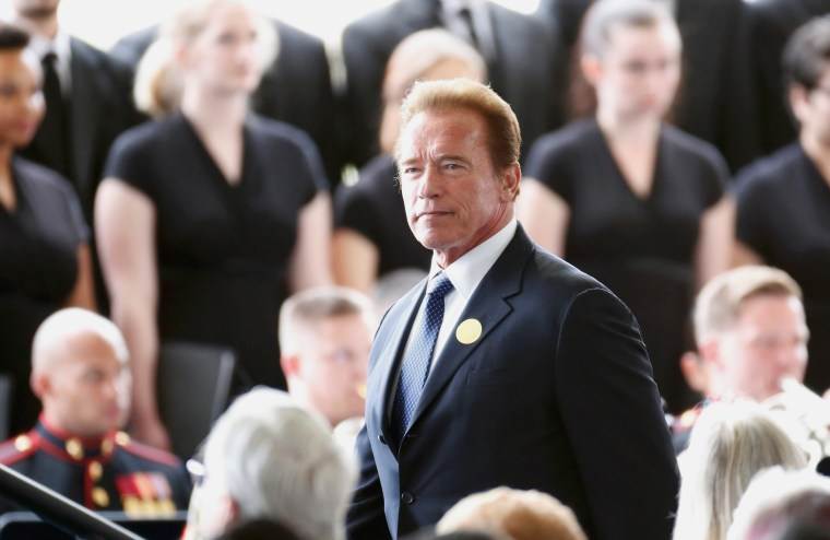 Image: Former California Governor Arnold Schwarzenegger arrives for the funeral of Nancy Reagan at the Ronald Reagan Presidential Library in Simi Valley, California