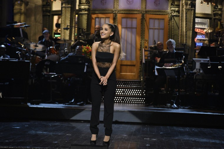 Image: Ariana Grande performs her monologue as she hosts Saturday Night Live
