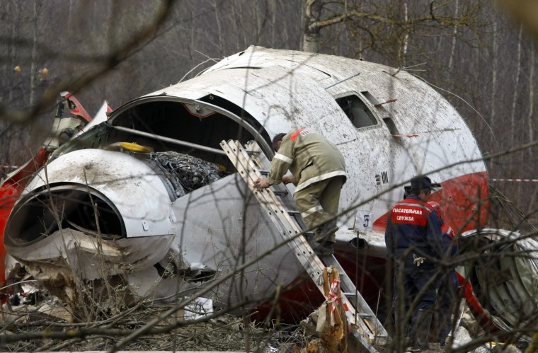 Image: Wreckage at the site of the Polish presidential plane crash is Smolensk, western Russia