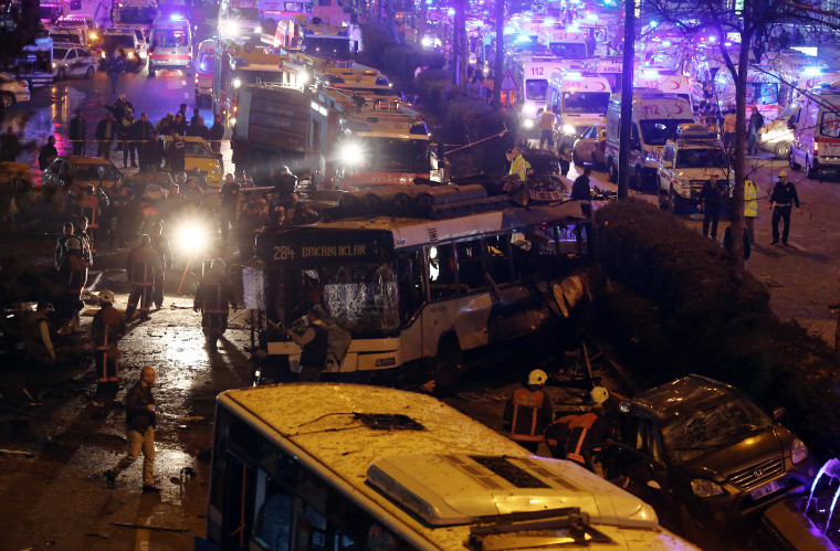 Image: Emergency services work at site of an explosion in Ankara