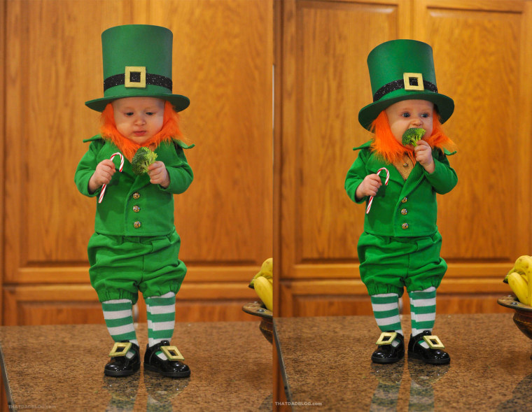"""""""As part of the Leprechaun's 'Green Initiative' he is only eating green food. He was very confused as he tried broccoli for the first time,"""" Lawrence writes on his website."""