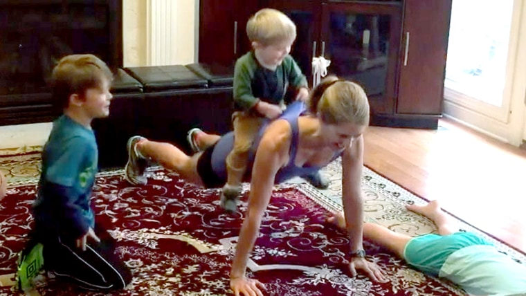 TODAY Parenting Team member Amy Rowland gets in a workout with her kids.