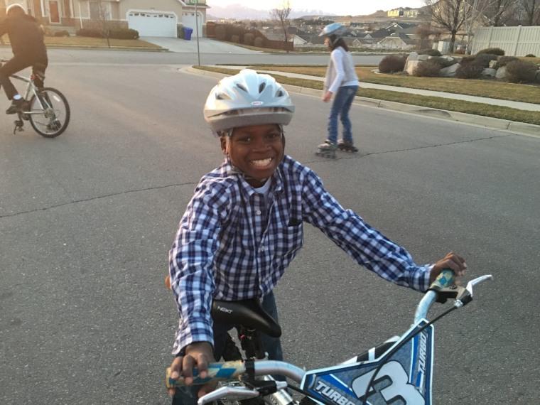 Joseph Grover on his bike