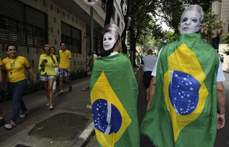 Image: Demonstrators take part in a protest in Sao Paulo