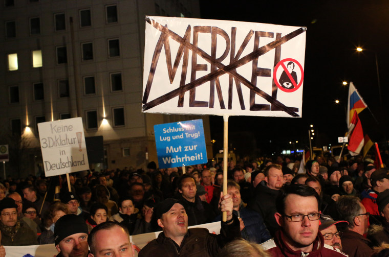 AfD supporters protest on Feb. 24, 2016.
