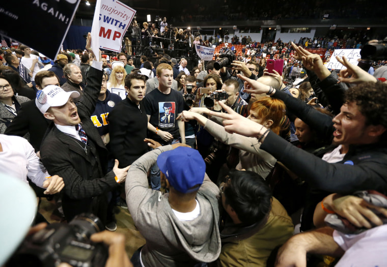 Image: Supporters of Donald Trump face off with protesters