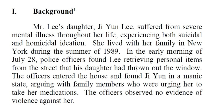 An excerpt of court documents detailing the events leading to Ji Yun Lee's death.