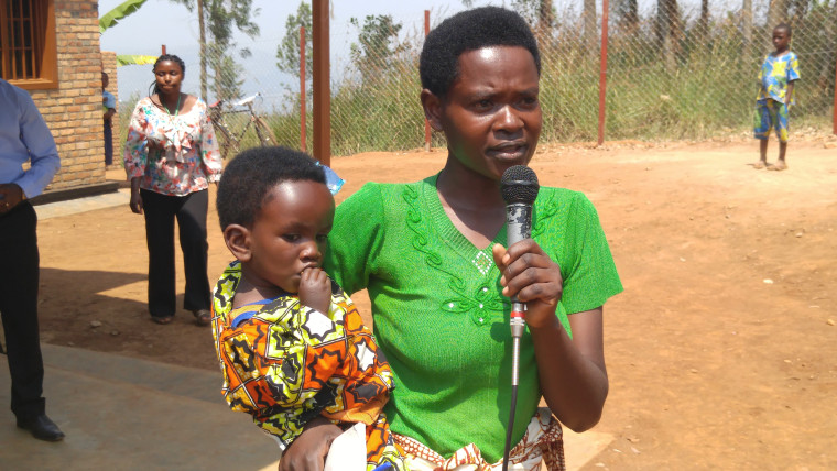 Oliva speaks to hundreds of her community members about throwing away the stigma of HIV and supporting the health of their families through healthy eating.