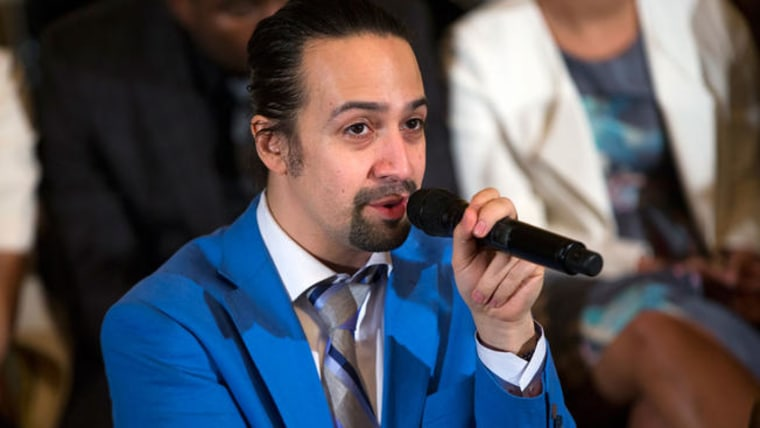 """Actor Lin-Manuel Miranda speaks during an event with the cast of the Broadway play """"Hamilton"""" in the East Room of the White House, on Monday, March 14, 2016, in Washington."""