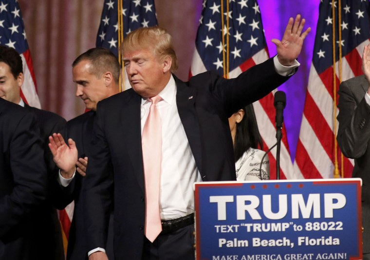 Image: Republican U.S. presidential candidate Donald Trump departs after speaking about the results of the day's primary elections during a news conference held at his Mar-A-Lago Club, in Palm Beach