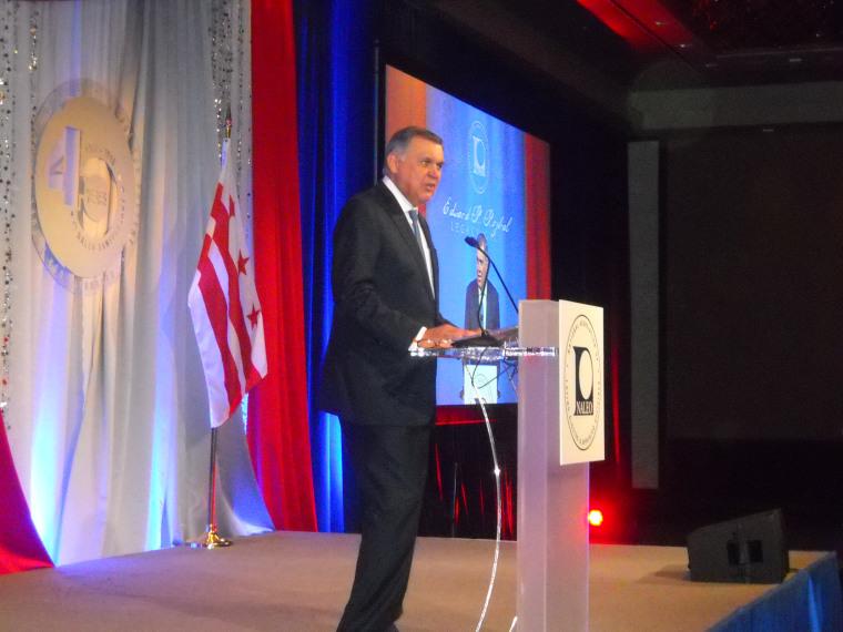Mel Martinez, former Housing Secretary under George W. Bush speaks at the NALEO gala on Tuesday, March 15, 2016 in Washington, DC.