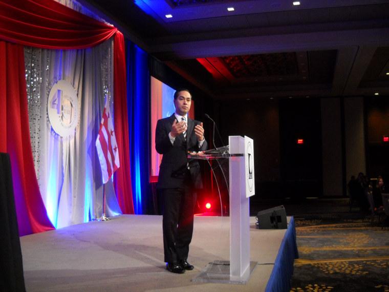 Housing Secretary Julian Castro speaking at the NALEO gala on March 15, 2016 in Washington, DC.