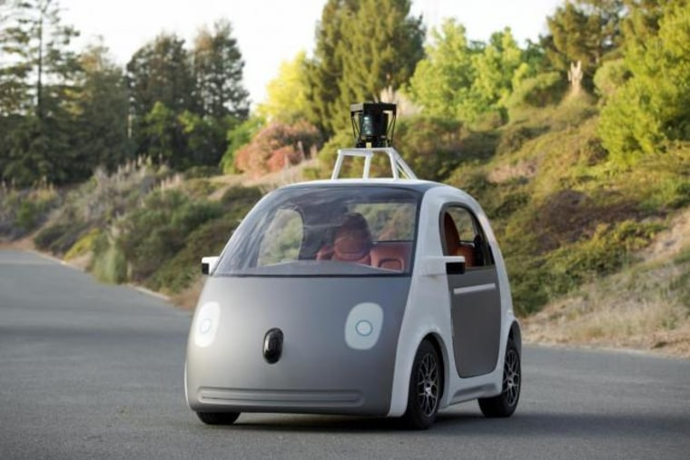 Handout photo of Google self-driving car prototype