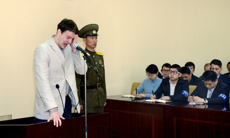 Image: U.S. student Otto Warmbier cries at court in an undisclosed location in North Korea