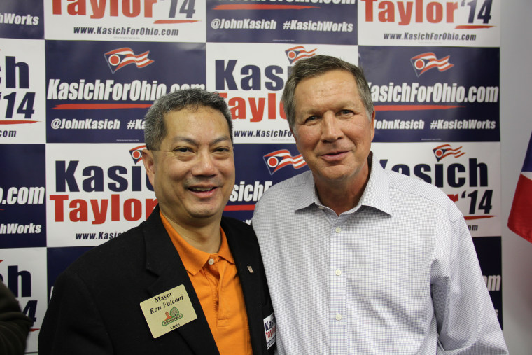 Mayor Ron Falconi of Brunswick, Ohio, with Gov. John Kasich. Falconi, a Filipino American, is one of the few Asian-American Republicans elected in Ohio.