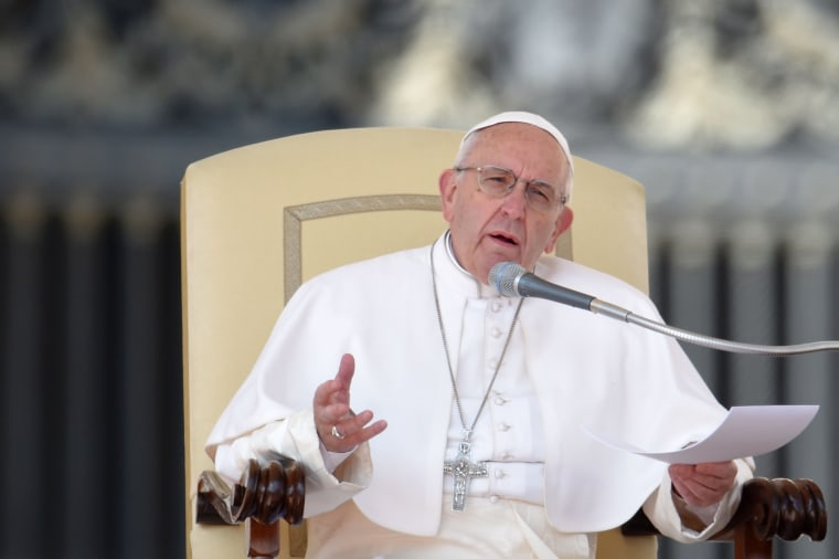 Image: Pope Francis addresses the crowd during Wednesday's general audience at St Peter's Square.