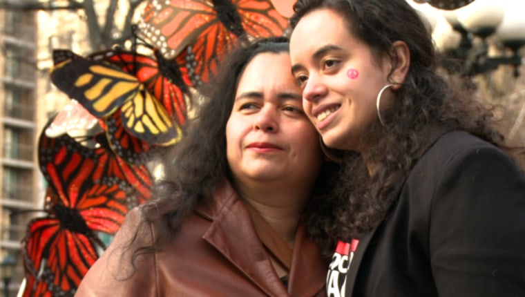 Angy Rivera and her mother at an immigration reform rally.