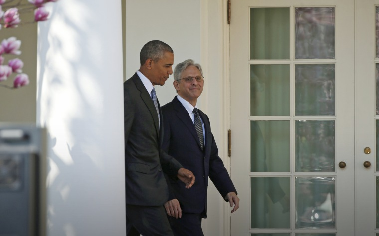 Image: U.S. President Obama arrives with Judge Garland prior to Supreme Court nominee announcement at the White House in Washington