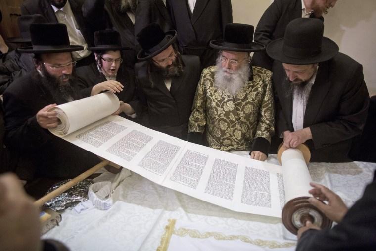 Image: Celebration of a new Torah scroll written in Jerusalem