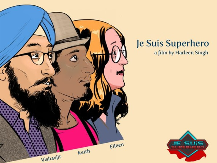"Stylized illustrations of Singh, Knight, and Alden, the subjects of ""Je Suis Superhero""."