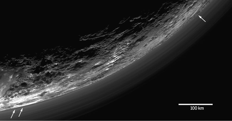 """Image from """"The atmosphere of Pluto as observed by New Horizons,"""" by G.R. Gladstone et al."""