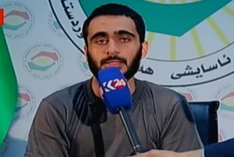 A man identified as Mohamad Jamal Khweis appears on Kurdistan 24 television.