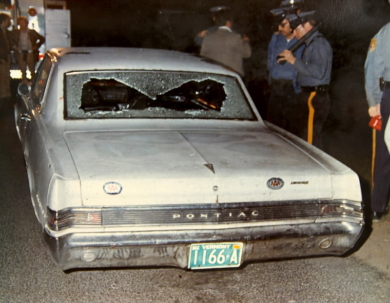 The car in which Chesimard and two other suspects were traveling when stopped by New Jersey state troopers.