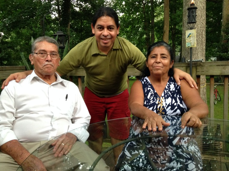 Fernando with his parents on his backyard in Raleigh, North Carolina.