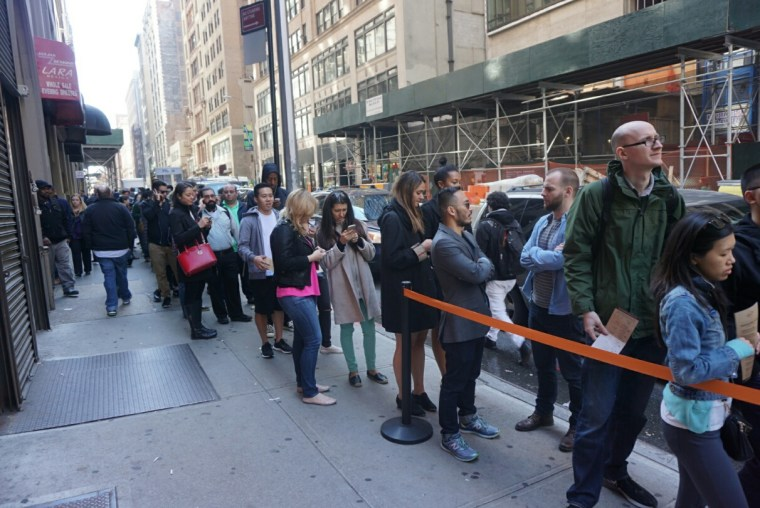An hour-and-a-half line at Pokéworks in New York City on a recent Thursday.
