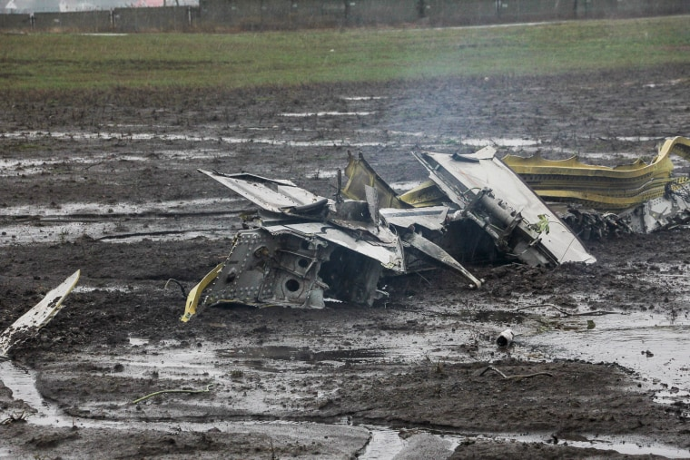 Image: Handout shows wreckage of the crashed Boeing 737-800 Flight FZ981 operated by Dubai-based budget carrier Flydubai, at the airport of Rostov-On-Don, Russia