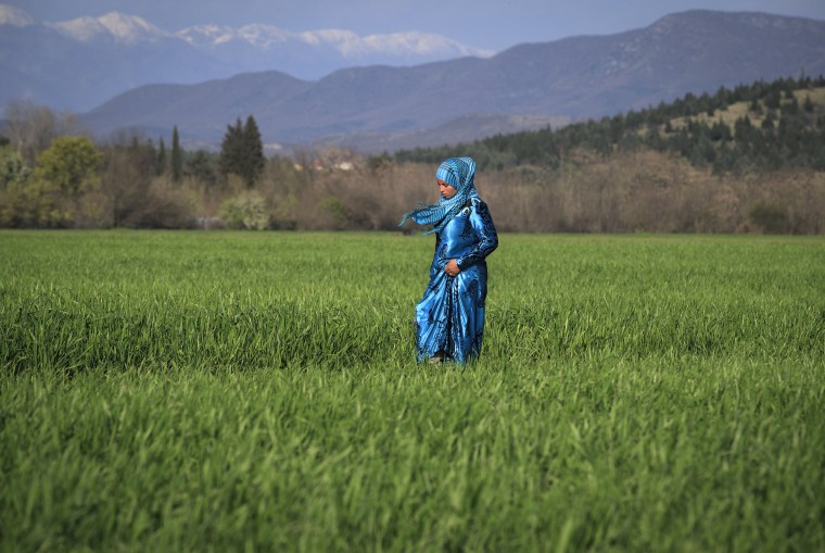Image: A migrant woman walks in a field at the northern Greek border point of Idomeni