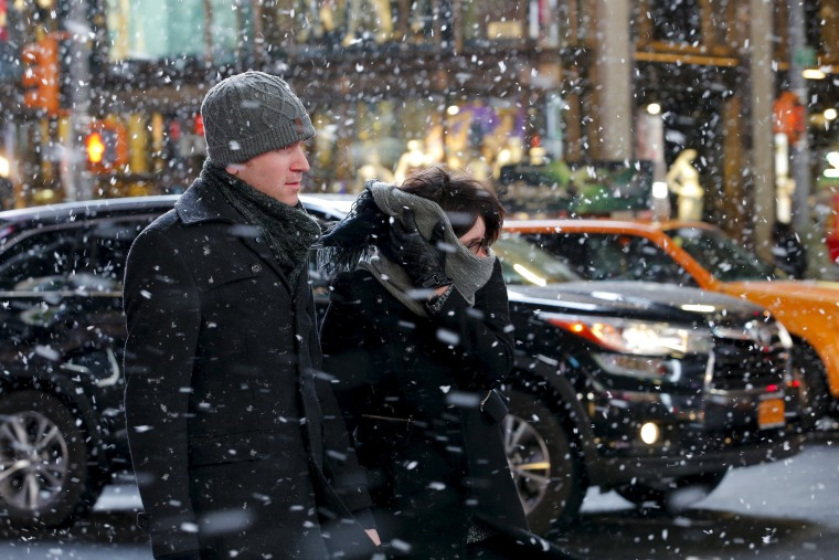 Image: Snow in New York's Times Square