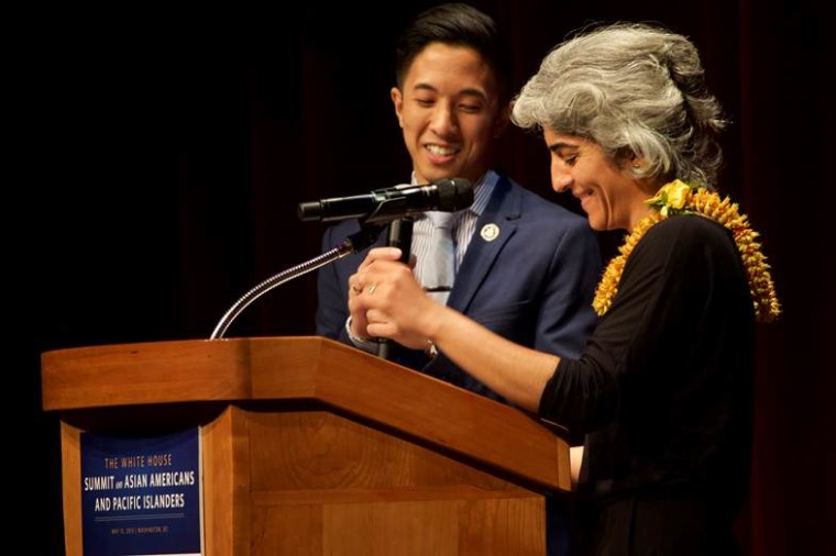 White House Initiative on Asian Americans and Pacific Islanders deputy director Jason Tengco and executive director Kiran Ahuja deliver opening remarks at the White House Summit on AAPIs, May 12, 2015.