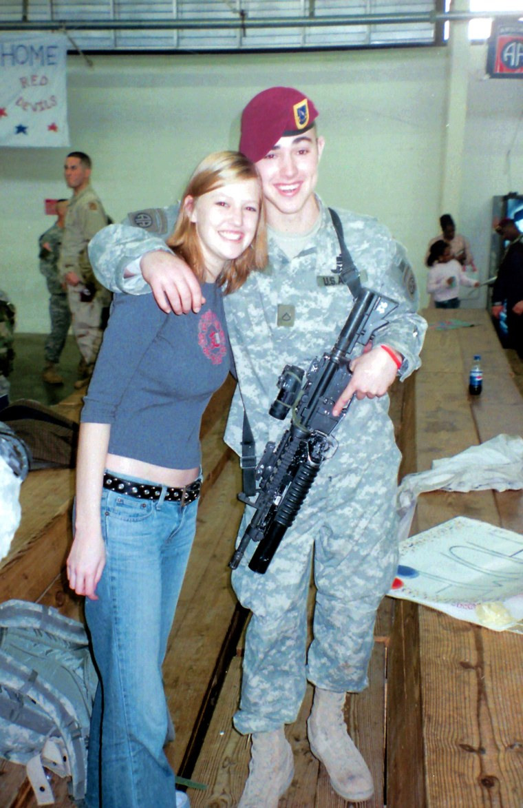 Buddy and his sister Haley smile on the day he returned home from his first deployment in February 2006.