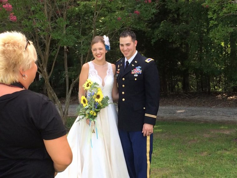 Buddy gives his big sister away at her wedding in August 2015.