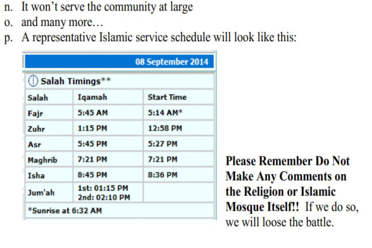 An image, taken from court documents, that the Islamic Society of Basking Ridge says shows coaching from the Bernards Township Citizens for Responsible Development on how not to appear discriminatory.
