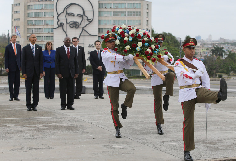 Image: Obama attends a wreath laying ceremony in Havana's Revolution Square