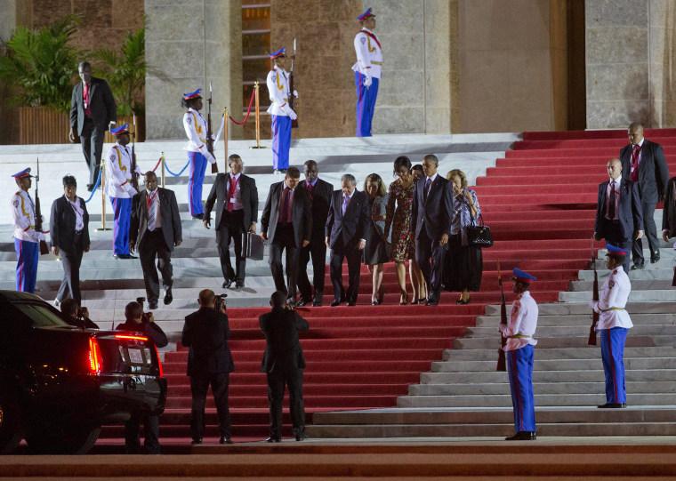 Image: Barack Obama, Michelle Obama, Raul Castro