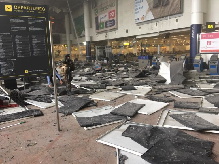 A departures hall at Brussels Airport was devastated by Tuesday's explosions.